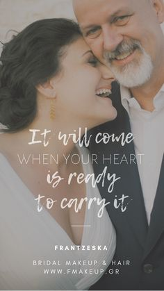 It will come when your heart is ready to carry it Scrunched Hair, Bridal Makeup, Your Heart, Carry On, Most Beautiful, Groom, Hairstyle, Bride, Greek Islands