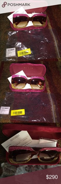 Gucci sunglasses Gucci sunglasses new never worn feel free to make a offer GG0083s comes with original packaging and box color Pink and brown glitter sunglasses  100% UV protection Gucci Accessories Glasses