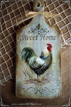 Decoupage Vintage, Decoupage Art, Chicken Painting, Chicken Art, Painting On Wood, Rooster Art, Rooster Decor, Diy Crafts To Do, Wood Crafts
