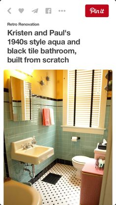 So reminiscent of the style of my Grandma's bathroom. Except hers was pink and black.