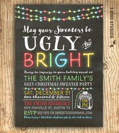 Ugly Christmas sweater invitation Ugly sweater by 2birdstudios