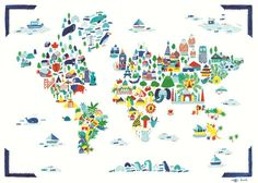 A colorful and lovely world map filled with cute details, animals and buildings representative for the world's various parts.
