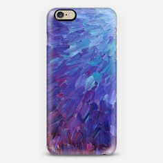 SCALES OF A DIFFERENT COLOR - Bold Deep Violet Aubergine Lavender Periwnke Purple Ombre Ocean Waves Splash Abstract Peacock Feathers Painting - Classic Snap Case