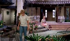 "The Original ""Parent Trap"" 1961 Movie Sets | ranch house courtyard"