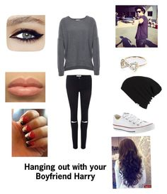 """""""Hanging out with your boyfriend Harry"""" by jennifersam ❤ liked on Polyvore featuring beauty, Velvet, Frame Denim, Converse, Vans and River Island"""