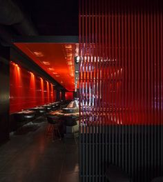Carlo Berarducci Architecture reproduces the suggestion of the temples of Kyoto in a restaurant in Rome. The project for a Japanese restaurant in Rome is inspired by the walkways in the forest bor. Japanese Restaurant Design, Chinese Restaurant, Restaurant Bar, Coffee Restaurants, Sushi Restaurants, Sushi Bar Design, Restaurant Pictures, Interior Concept, Cafe Bar