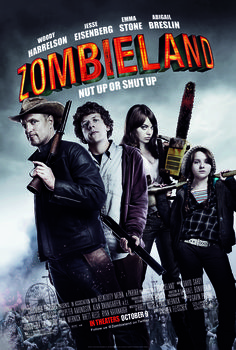 The Zombieland movie title shows typographic contrast of direction and weight.