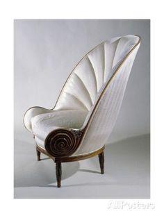 paul-iribe-art-deco-style-armchair-ca-1913 shell shaped art decor armchair.