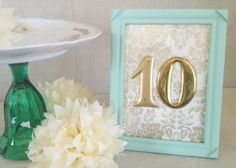 colors. wedding reception framed table numbers