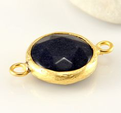 Round Jade Connector Gold Plated Dark Gray 17mm by ShiShisBoutique, $6.00