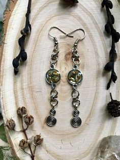 Forest jewelry, Mori, mori jewelry, mori earrings, Lichen in resin, Long forest earrings
