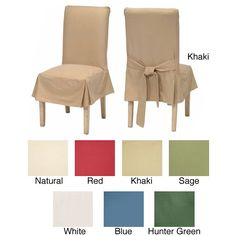 Protect your chairs and quickly update the look of your dining room decor with these dining chair cotton duck slipcovers. Available in several color choices, these 100 percent cotton slipcovers provide durability and easy maintenance.