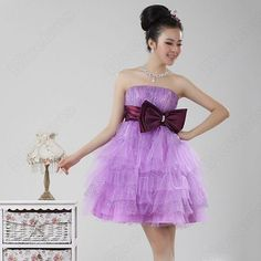 Dreamy Purple Strapless Bow Tie Empire Sequin Short Party Wedding Dress