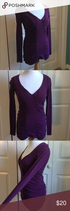 Plum Ruched Top Dark purple long sleeve top with ruching on the sides and front. Built in bra underneath. Victoria's Secret Tops Tees - Long Sleeve