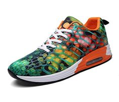 FLARUT Womens Mens Lightweight Walking Trainers Gym Fitness Running Shoes Breathable Sport SneakersOrangeGreenb37 EU >>> Check out this great product. (This is an affiliate link) #ExerciseandFitnessEquipment