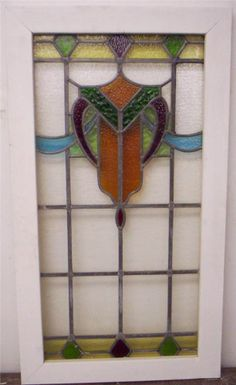 "LARGE OLD ENGLISH LEADED STAINED GLASS WINDOW Colorful Shield Design 20.5"" x 37"""