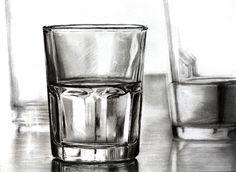 glass by ~memougler on deviantART Shading Drawing, Water Drawing, Pencil Art, Pencil Drawings, Art Drawings, Still Life Drawing, Still Life Pencil Shading, Drawing Furniture, Bottle Drawing