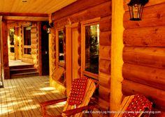 www.lakecountrylog.com    Red Cedar Ship Lapped Handcrafted Log Siding With Handcrafted Log Accents Log Cabin Exterior, Log Cabin Homes, Log Siding, Western Red Cedar, Douglas Fir, Railings, Cabin Ideas, Stairs, Ship