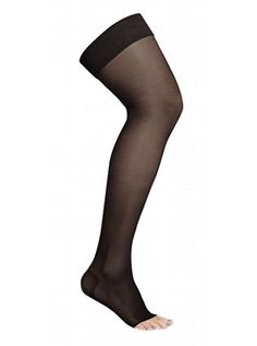 Compression stockings AGH - Stay Up, class 2, open toe, black 140 D