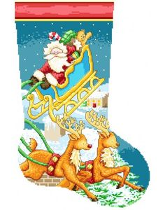 Santa Christmas Stocking PDF Cross Stitch Pattern By Lucie Heaton Santa Cross Stitch, Cross Stitch Christmas Stockings, Cross Stitch Stocking, Christmas Stocking Pattern, Christmas Cross, Counted Cross Stitch Patterns, Cross Stitch Charts, Cross Stitch Designs, Christmas Time
