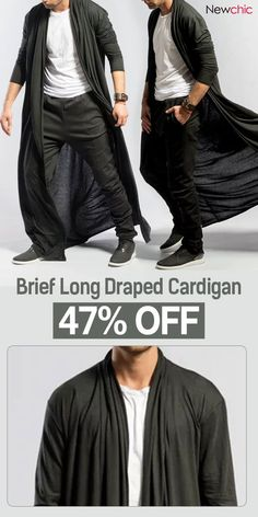 ChArmkpR Mens Brief Long Pleated Draped Solid Color Cardigan Casual Long Robe is cheap and designer, see other on NewChic. Cardigan Casual, Drape Cardigan, Kimono Cardigan, Casual Wear, Mens Style Guide, Men's Coats And Jackets, Cool Fabric, Mens Fashion, Gothic Fashion