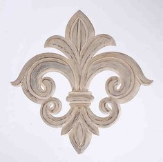 Weathered wood wall decor with a fleur-de-lis motif.Product: Wall décor Construction Material: Wood Color: WhiteFeatures: Fleur de lis motif Dimensions: H x W Note: Not recommended for outdoor useCleaning and Care: Wipe with dry cloth Rustic White, White Wood, Iron Wall Decor, Tuscan Decorating, Decorating Ideas, Wood Wall, Wall Décor, Wall Art, Diy Wall