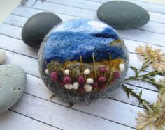 Felted wild rose brooch Gifts for woman от FeltAccessories на Etsy