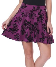 Eggplant & Black Floral Skater Skirt #zulily #zulilyfinds