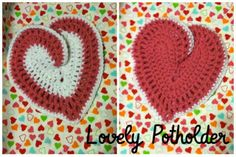 Crochet Heart Potholder - Made from this pattern: http://kaleidesigns.com/crochet/patterns/archive/poth003.html