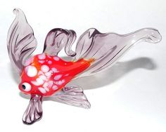 Glass Murano Art Blown Gold Fish Figurine Purple Red Tabletop Christmas Ornament | eBay