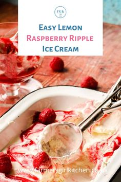 Easy Lemon Raspberry Ripple Ice Cream is rich and creamy with the sharp flavours of lemon and raspberry contrasting with the sweetness of the ice cream.  Made with lemon curd, this recipe works perfectly as a No-churn, or make it extra smooth by churning in your ice cream maker #icecream #lemon #lemon curd #raspberry #ripple #recipe #nochurn