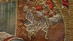 Photographie : Bénédicte Meffre - Hémiole.Médaillon, détail. Cycle brodé de la légende de saint Martin, cours de René d'Anjou, vers 1430.
