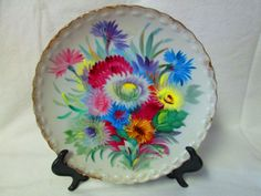"Stunning Fine bone china Plate Vibrant Colored Flowers Ucago Japan Mid Century Wall Hanging Collectible Hand Painted Plate 8"" across"