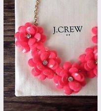 2017 NWT J.Crew Factory Crystal Floral Burst Statement Necklace Coral Pink With Pouch - Work and Office wear, dressy casual