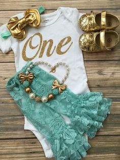 First Birthday/Mint Gold Outfit/CakeSmash/2nd by BabyTrendzz