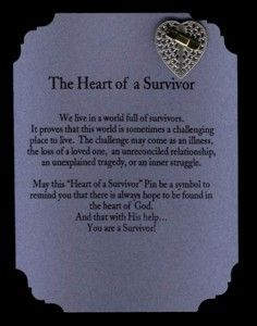 """Heart of a Survivor Pin & Poem Card--$6.00 each This heart shaped pin with a bandaid on it says """"You are a Survivor!"""" Silver pin with gold bandaid.  Makes a great gift for anyone who's a survivor of anything.  http://www.angeldesignsbydenise.com/category.php?ct=356&id=355#subcat356"""