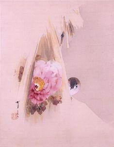 "sumi-no-neko: ""渡辺省亭 Watanabe Shōtei - 雪中牡丹に雀 Sparrow and Peony, 1898 "" Japanese Ink Painting, Japan Painting, Chinese Painting, Chinese Art, Japanese Art Modern, Japanese Prints, Peony Painting, Art Japonais, Japanese Flowers"