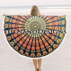 Tri Color Feather Roundie Beach Throw Bedspread – TheNanoDesigns