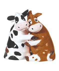 Look at this #zulilyfind! Hugging Cows Salt & Pepper Shakers #zulilyfinds