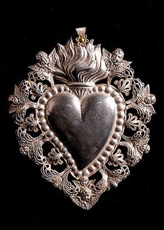 Italian Antique Silver Sacred Heart Ex-Voto with Cherubs