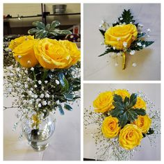 Yellow rose,  baby's breath, and greens with yellow trim Brownwood Tx, Nosegay, Local Florist, Baby's Breath, Corsages, Boutonnieres, Flower Delivery, Yellow Roses, Flower Arrangements