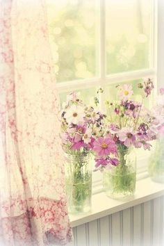 Just plain C O U N T R Y CHARM... Lovely flowers on the window sill.