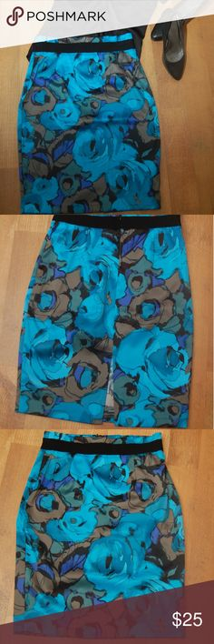New York & Company Bold Floral Print Pencil Skirt Bold peacock blue floral pencil skirt, perfect for the office or a night out! New York & Company Skirts Pencil