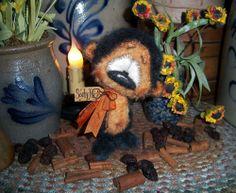 "Primitive Halloween Black Teddy Mohair Bear 5"" Doll Vtg Patti's Ratties Artist"