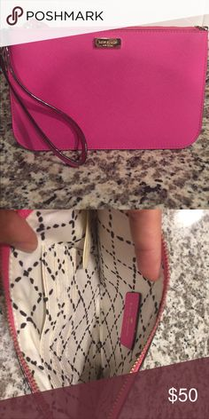 Kate Spade wristlet Barely used pink Kate Spade wristlet. Comes with strap and has four interior cars slots. Perfect for traveling light! kate spade Bags Clutches & Wristlets