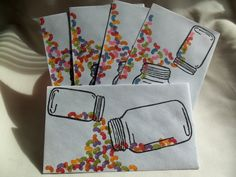 Five Creative Mail Art styled security envelopes featuring jars and jelly beans