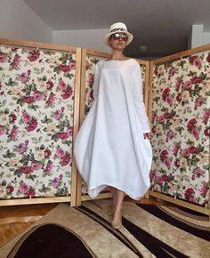 White linen dress, beach wedding dress, linen womens clothing, white ...
