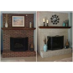 6 Unique ideas: Living Room Remodel On A Budget Thoughts living room remodel with fireplace mantels.Living Room Remodel Ideas With Fireplace small living room remodel ideas.Living Room Remodel Before And After Renovation. Painted Brick Fireplaces, Paint Fireplace, Brick Fireplace Makeover, Fireplace Mantels, Fireplace Brick, Stone Fireplaces, White Wash Fireplace, Mantles, Fireplace Ideas