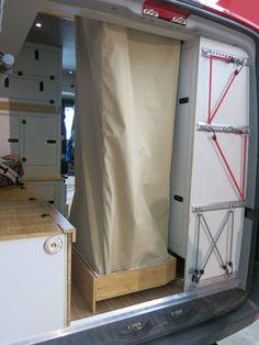 Shower drawer with fabric cube - - URO Camper pull-out shower cubicle, # pull-out .,Shower drawer with fabric cube - - URO Camper pull-out shower cabin, # extendable cabin drawer. Sprinter Van Conversion, Van Conversion Layout, Camper Conversion, Van Conversion With Shower, Campervan Conversions Layout, Sprinter Camper, Camping Car Sprinter, Mercedes Sprinter, Camper Diy