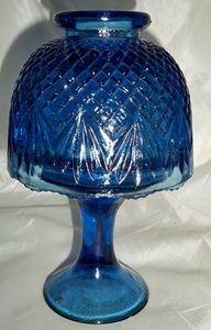 Gorgeous Vintage Cobalt Blue Cut Glass Fairy Lamp/Candle Holder   eBay